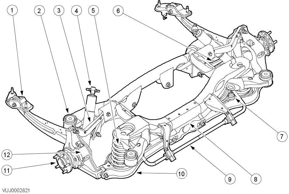 Схема задней подвески Ягуар X-Type